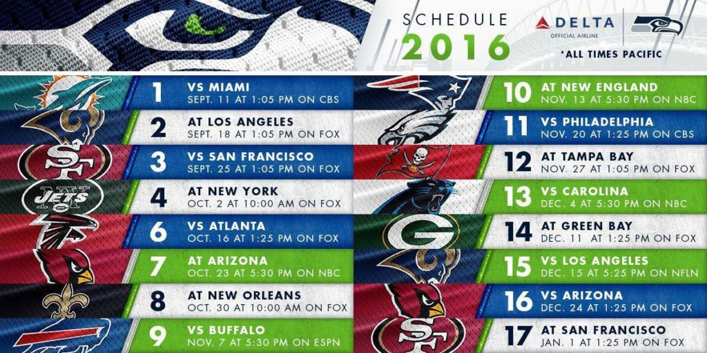 Seattle Seahawks 2016 2017 Football Game Schedule