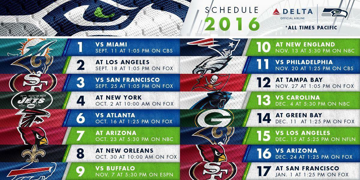 photograph relating to Seattle Seahawks Schedule Printable titled 2018 2019 Seahawks Routine Pacific Year Excellent Graphic