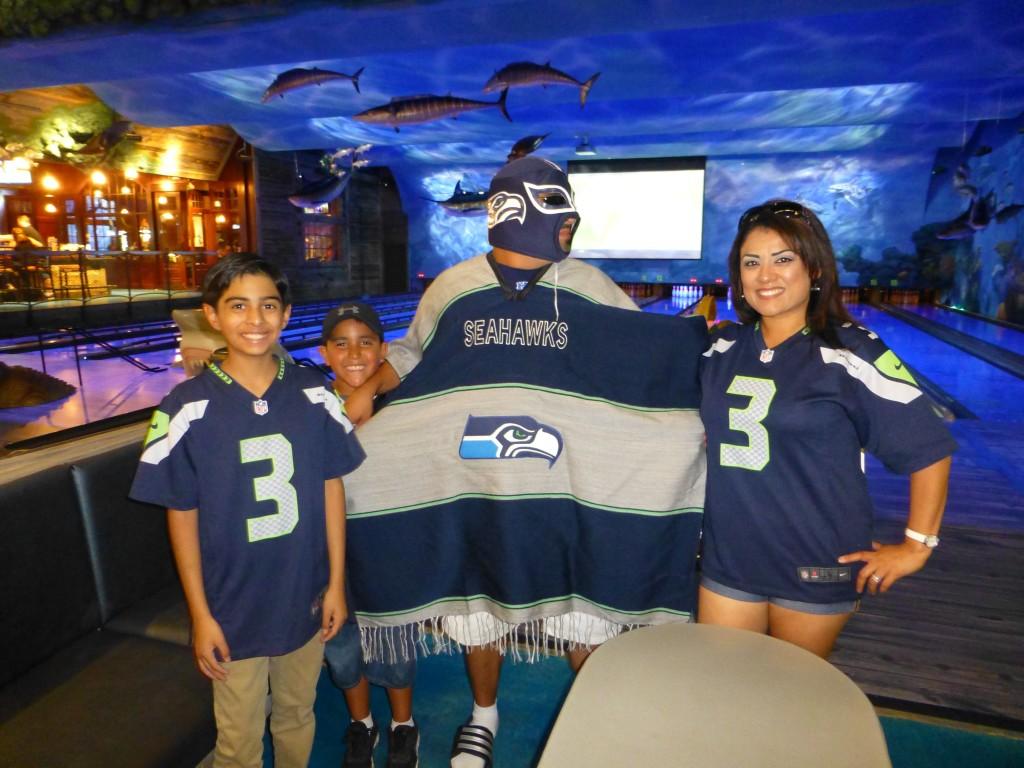 Seattle Seahawks Fan in Wrestling Gear at Social Event in North Austin, Texas