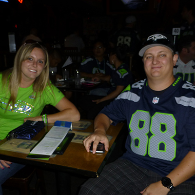 Waiting for Seattle Seahawks watch party to start