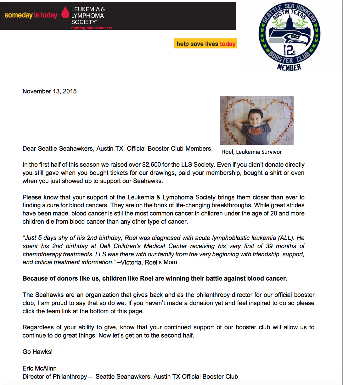 LLS Light the Night Walk Letter Seattle Seahawks Booster Club